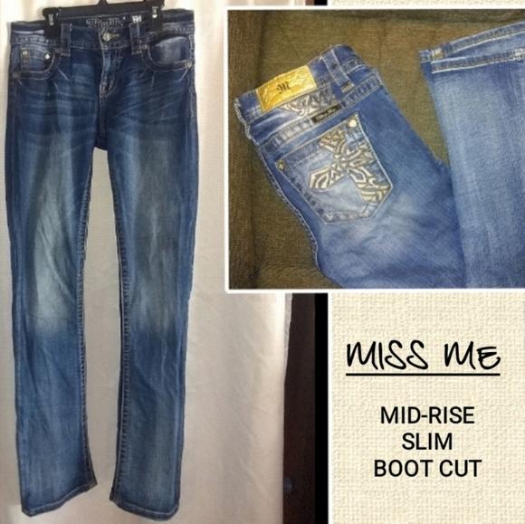 Miss Me Denim - MISS ME MID-RISE SLIM BOOT CUT JEANS